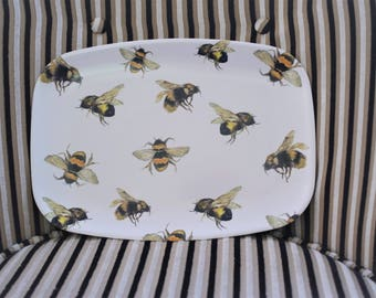 bee melamine platter-  bee tray- bee lovers gift- bee watercolor- bee painting- honey bee gift-  hostess gift- bumble bee art-