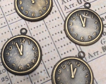 Set of 4 Antiqued Brass Clock Charms