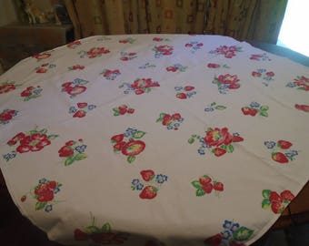 Vintage, retro white cotton Wilendur-like tablecloth with red strawberries and flowers, 42 x 45, 2 stains