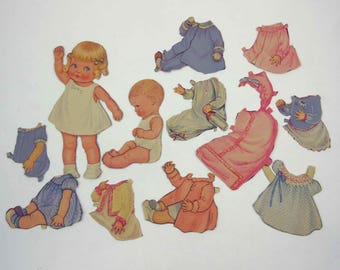 Vintage 1940s or 1950s Cute Little Girl and Baby Paper Dolls for Children
