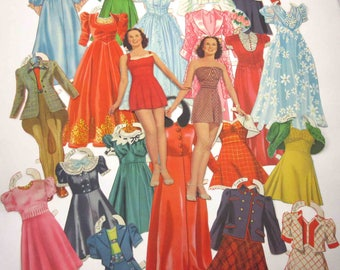 Vintage 1940s or 1950s Paper Dolls Teenage Girls and 19 Outfits