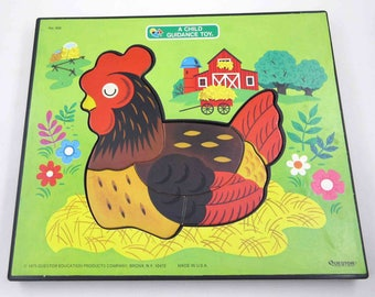 Vintage 1970s Picture Puzzle for Hen with Egg and Chick Barn A Child Guidance Toy