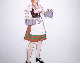 Vintage Large Female German Octoberfest or Oktoberfest Bar Maid with Beer Mugs Die Cut Cardboard Decoration by Beistle