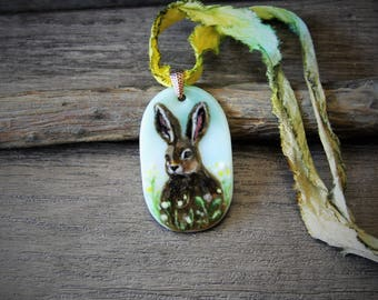 Hare in field Necklace, fused glass pendant, Rabbit jewelry, orange bunny,Summer