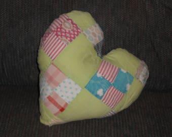 Vintage Quilt Heart Pillow - Accent Pillow