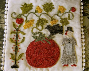 Tomato Season Mat - PAPER PATTERN - a punch needle project from - Notforgotten Farm™