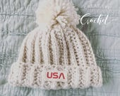 Winter Olympics 2018 Snowboarding  Hat / Crochet Hat / Pom Hat -with patch-