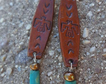Thunderbird Earrings - Tooled Leather -  Turquoise - Pearl - Sterling Silver - Cowgirl Jewelry - Leather Earrings by Heart of a Cowgirl