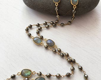 Pyrite labradorite long beaded necklace, gold beaded necklace,gift for her,gift under 200,dainty long necklace,delicate long necklace