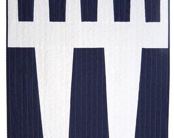 Modern Quilt - Baby Quilt - Navy Variation