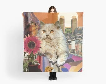 Leo StarCat Extra Large Scarf - Zodiac Astrological Sign Collage Art - July August Birthday Gift for the Cat Lover - 55 inch square
