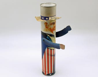 Vintage Candy Container Rare Uncle Sam Fanny Farmer July 4th Decoration