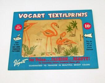 Vintage Vogart Textilprints Flamingos Hot Iron Transfers Dish Towel Patterns