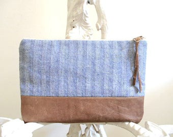 Denim leather clutch / cosmetic  / iPad mini bag - large utility pouch - eco vintage fabrics