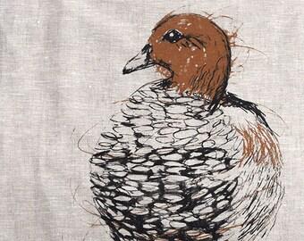 Tea Towel, Wood Duck Screen Printed Tea Towel in Linen, Australian Native Bird