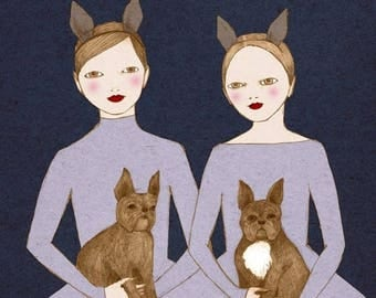 Sale French Twins - girl with a french bulldog- Print of original illustration wall art