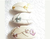 CLEARANCE - Floral barrette, embroidered barrette, fabric barrette, oval barrette, linen barrette, hair accessory, 3 colors to choose from