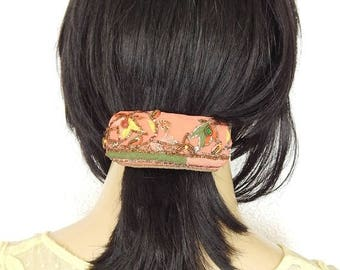 CLEARANCE - Coral hair barrette,embroidered barrette, beaded barrette, sequinned barrette,fabric barrette, hair accessory, fashion accessory