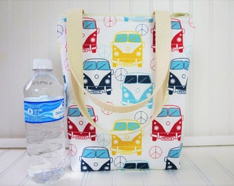Kids Lunch Bag - Lunch Tote - Insulated Lunch Tote - Volkswagen Bus Lunch Tote - VW Bus Bag - Tote Bag - Teacher Gift