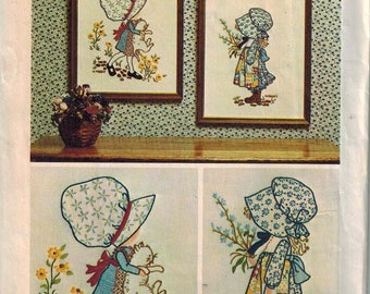 """1973 Simplicity 6005 UNCUT Holly Hobbie Embroidery Stamps -  makes Two 12.5"""" x 15"""" Pictures Pattern Unused"""