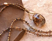 Garden Quartz Crystal Drop Necklace With Andalusite Gemstone Beads + Inclusion Quartz + Handmade Bronze Ammonite Spiral + Warm Earth Luxe