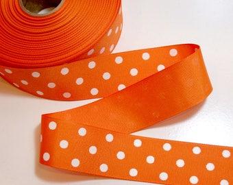 Orange Ribbon, Orange and White Polka Dot Grosgrain Ribbon 1 1/2 inches wide x 10 yards