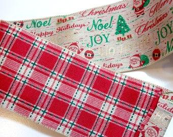 Christmas Ribbon, Lion Brand Santa Joy Wired Fabric Ribbon 4 inches wide x 10 yards, Santa Ribbon, Plaid on the backside