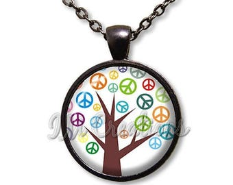 20% OFF - Retro Peace Tree Lover Dome Pendant or with Chain Link Necklace VT116
