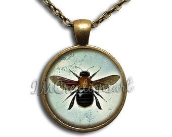 25% OFF - Flying Bug Lover Insect Glass Dome Pendant or with Chain Link Necklace AN169