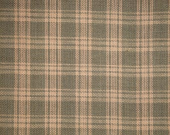 Homespun Fabric | Plaid Fabric |  Quilt Fabric | Home Decor Fabric | Sage Green And Natural Basic Plaid | 1 Yard