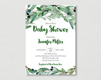 Green Floral Baby Shower Invitation / Olive Floral Baby Shower / Watercolor Floral / Watercolor Leaves / Greenery / PRINTABLE A189