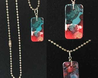 Teal Appeal Domino Necklace