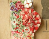 BROOCH Textile - a textile collage - roses
