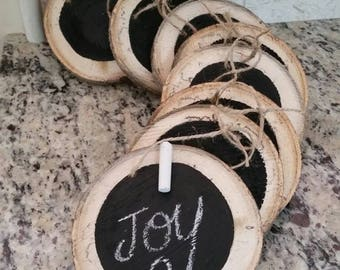 8 Rustic Chalkboard Wood Slice Ornaments or Tags