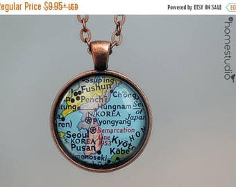 ON SALE - Korea Map : Glass Dome Necklace, Pendant or Keychain Key Ring. Gift Present metal round art photo jewelry by HomeStudio