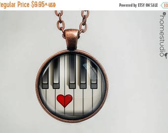 ON SALE - Piano Heart : Glass Dome Necklace, Pendant or Keychain Key Ring. Gift Present metal round art photo jewelry by HomeStudio