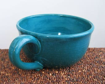 Pottery Soup Mug, Large Stoneware Coffee Mug or Cappuccino Cup in Peacock Blue Green 16 oz Father's Day Gift, Oatmeal Bowl, Wheel Thrown