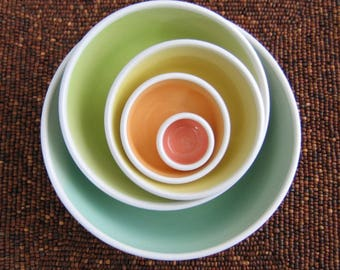Rainbow Pottery Nesting Bowls, Large Ceramic Stoneware Serving Set, Wedding Gift, Wheel Thrown