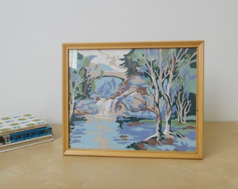 Vintage Trees, Bridge, and River Paint By Number Painting - Framed