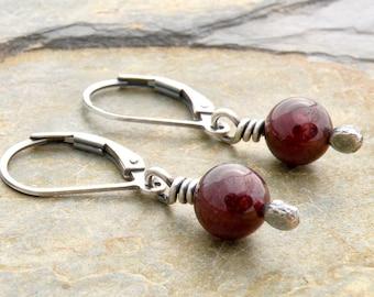 Red Birthstone Earrings, Garnet Earrings, January Birthday, Garnet Gemstone, Sterling Silver Lever Back Ear Wires, Dangle Earring,  #4814