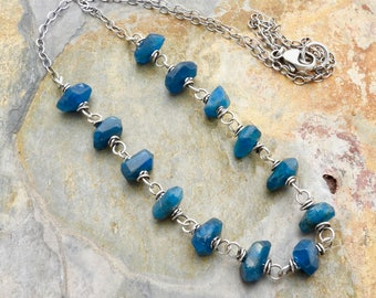 Teal Blue Gemstone Necklace - Rough Cut Apatite Necklace - Teal Gemstones - Blue Necklace - Sterling Silver - Boho Layering Necklace #4662