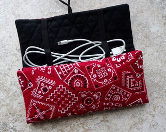 Cord Organizer, Cord & Adapter Travel Case, Device Charger Cord Storage Roll, Earbud Case,Red Bandana Fabric Organizer,Country Western