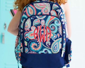 Girls Monogram Backpack Paisley School Personalized, Emerson