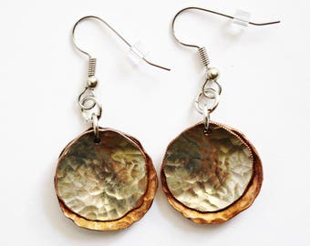 Coin Dangle Earrings, Hammered U.S. Penny and Dime, Layered Coins, Sustainable Handcrafted Repurposed Jewelry by Hendywood