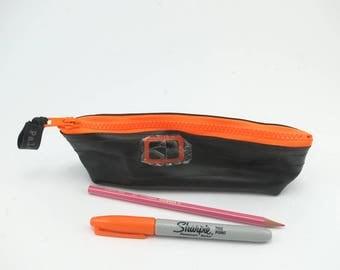 Pencil case rubber recycled bike inner tube neon orange zipper