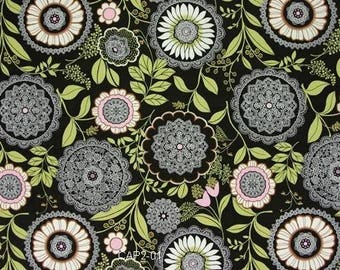 OOP Amy Butler - Lotus Collection - Lacework in Olive by the Yard - Pink Green Ivory Cream Designer Fabric