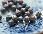 Rusty Bits - Premium Czech Glass Beads, Opaque Bronze, Turquoise Wash, Baby Melon Rounds 6mm - Pc 25