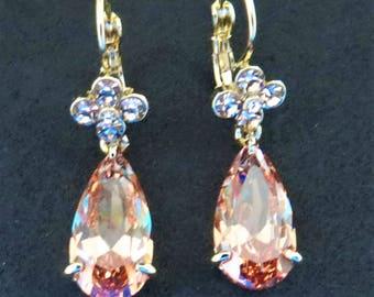 Flower drop earrings, gold plated, cubic zirconia