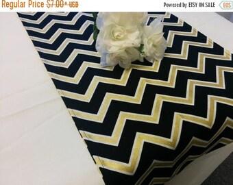 ON SALE BLACK Gold Chevron table runner -or Napkins, Pillow Cover, Black white and Gold, metallic, zig zag, Chevron wedding, bridal, shower,