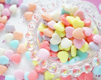 50 pcs Pastel Heart Beads (12mm) AZ580